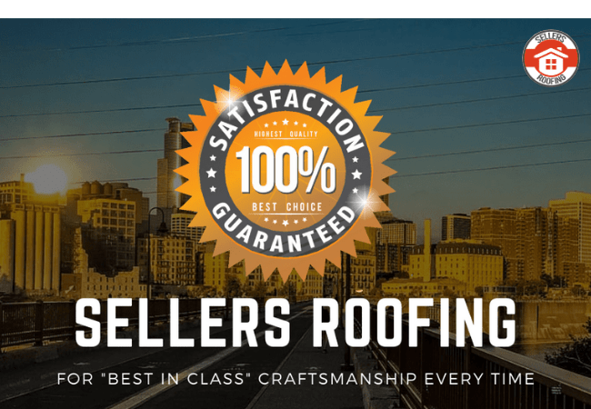 Affordable Roofing Services Minneapolis MN - Minneapolis Skyline with Company Branding, a Slogan, and a Satisfaction Guarantee Medallion